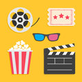 3D glasses Movie reel Open clapper board Popcorn Ticket Cinema icon set. Royalty Free Stock Photo