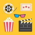 3D glasses Movie reel Open clapper board Popcorn Ticket Cinema icon set. Royalty Free Stock Photo