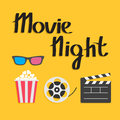 3D glasses Popcorn Movie reel Open clapper board Cinema icon set. Flat design style. Yellow background. Movie night text. Royalty Free Stock Photo