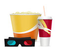 D glasses with popcorn and soda drink on white Royalty Free Stock Photo