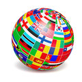 D globe sphere with flags of the world on white Royalty Free Stock Photo