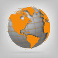 3d globe of the world. Royalty Free Stock Photo