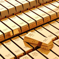D gold bars on white background Royalty Free Stock Photo