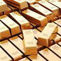 D gold bars on white background Stock Photo