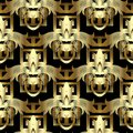 3d gold floral greek key seamless pattern. Vintage vector backgr Royalty Free Stock Photo