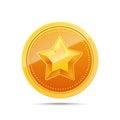 3D Gold medal. Winner award icon.