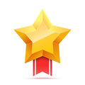 3D Gold star and red ribbon. Victory icon.