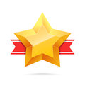 3D Gold star and red ribbon.