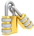 D golden code padlocks on white background Royalty Free Stock Images