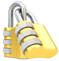D golden code padlocks on white background Stock Images
