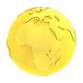 3D golden earth pure gold globe