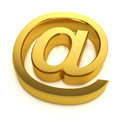 D golden email symbol render of a address Royalty Free Stock Image
