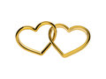 D golden engagement hearts rings connected together linked love and marriage symbol valentines day clip art on white background Stock Photo