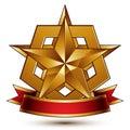 3d golden heraldic blazon with glossy pentagonal star, best for