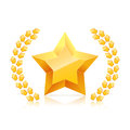 3D golden yellow star. laurel wreaths branch.