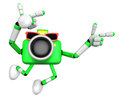 D green camera characte the direction of pointing with both han hands create robot series Stock Images