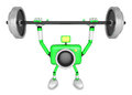 D green camera character is doing powerful weightlifting exerci exercises create robot series Royalty Free Stock Images