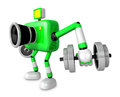 D green camera character a dumbbell kick back exercise create robot series Royalty Free Stock Photography