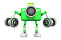 D green camera character a dumbbell kick back exercise create robot series Stock Photography