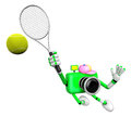D green camera character is a powerful tennis game play exercises create robot series Royalty Free Stock Photo