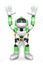 D green cowboy robot with both hands in a gesture of surrender create humanoid series Royalty Free Stock Image