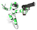 D green mascot robot is holding a automatic pistol pose create humanoid series Stock Images