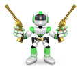 The d green robot cowboy holding a revolver gun with both hands create humanoid series Royalty Free Stock Image