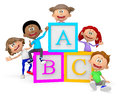 D group of school children with abc cubes isolated over white Stock Photography