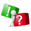 3d guy thinking in front of big question and exclamation mark c Royalty Free Stock Photo