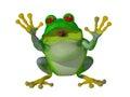 3d happy cartoon frog saying Hello Royalty Free Stock Photo