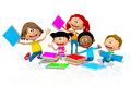 D happy school kids looking very over white background Royalty Free Stock Image