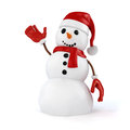 3d happy snowman with Santa hat and red gloves and presents Royalty Free Stock Photo