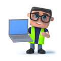 3d Health and safety officer holding a laptop Royalty Free Stock Photo