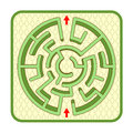 3d hedge maze top view, circle shaped, cobbled yard background