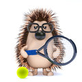 D hedghog tennis render of a hedgehog playing Royalty Free Stock Images