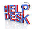 D helpdesk headphone illustration of and word help desk Royalty Free Stock Photos