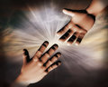 D helping hands illustration rendering of hand reaching for help on abstract light rays sky background Royalty Free Stock Image