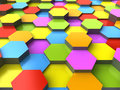 D hexagonal background colorful render Royalty Free Stock Images