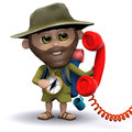 D hiker answers the phone render of a holding a red telephone handset Stock Photos