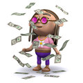 D hippy wins the jackpot render of a in a shower of us dollars Stock Image