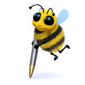 D honey bee writes render of a cute writing with a pen Stock Image