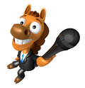 D horse character point a microphone d animal character desig design series Royalty Free Stock Image