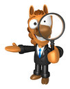 D horse mascot look through a magnifying glass d animal chara character design series Royalty Free Stock Photos