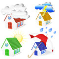 D houses with weather symbols set eps gradient meshes Stock Photography