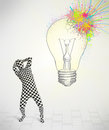 D human character is body suit looking at abstract colorful lig morphsuit lightbulb Stock Photography