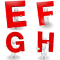 D human character holding red letter e f g h render isolated on white Stock Photo