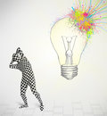 D human character looking at abstract colorful lightbulb is body suit morphsuit Royalty Free Stock Images