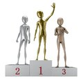 D humanoids pedestal gold silver bronse isolated white background Stock Images
