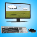 3d illustration of black desktop computer Royalty Free Stock Photo