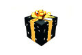 3d illustration: Black gift box with star, golden metal ribbon / bow and tag on a white background isolated. Royalty Free Stock Photo